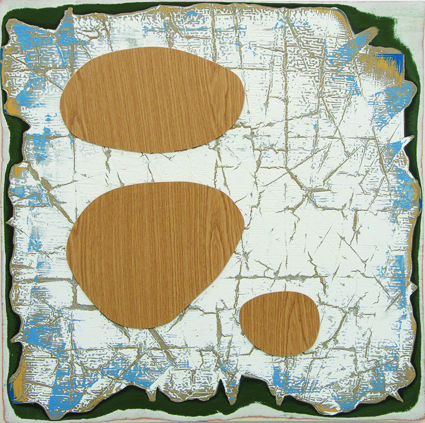 Andre Stitt ' Post-Capitalist Wall Relief for a Networkers Canteen in a Parallel Universe' oil, enamel and formica on wood panel,75x75cm 2016  copy