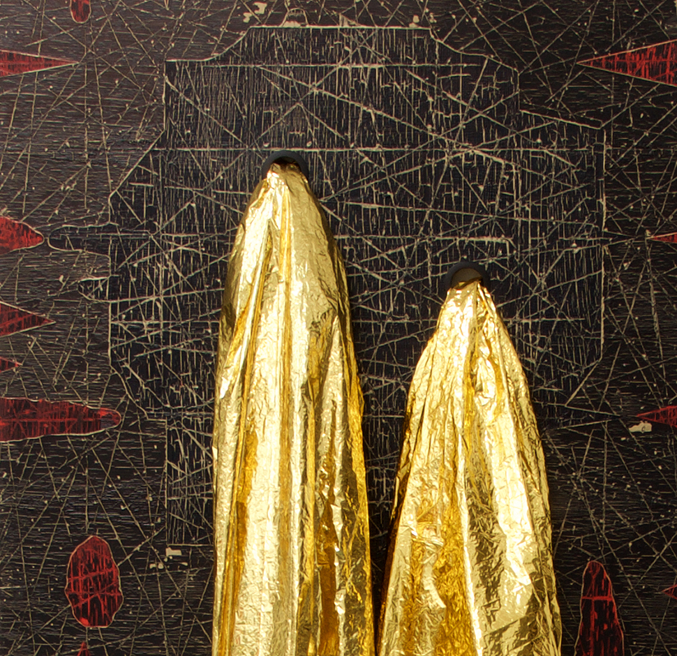 Andre Stitt -2, 'Last Transmission'oil & enamel on wood panels with gold survival blankets H.250xW230xD300, 2015