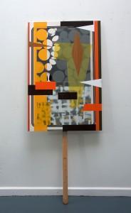 STITT 'Sign 4' acrylic, oil, enamel spray, vinyl panel & wood, 91x62x150cm, 2017 copy