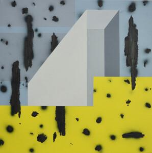 andre stitt 'Penrhys l' acrylic & oil on canvas, 50x50cm, 2020