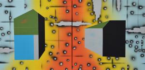 andre stitt 'Deep Estate(Gurnos)' diptych, acrylic and oil on canvas, 50x100cm, 2021