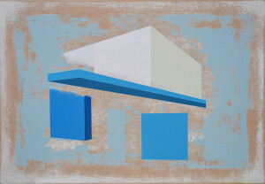 andre stitt 'Gurnos (going for messages)' acrylic on MDF, 40x60cm, 2021