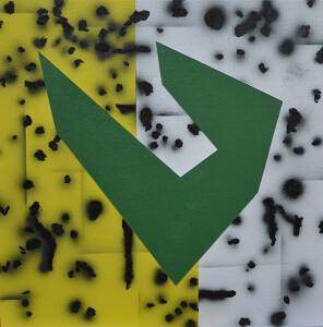 andre stitt 'Pen #2 acrylic & oil stick on canvas board, 40x40cm, 2020